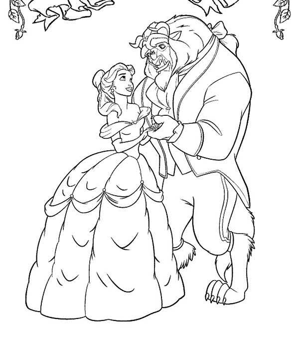 600x683 Belle And The Beast Dancing In The Garden Coloring Page