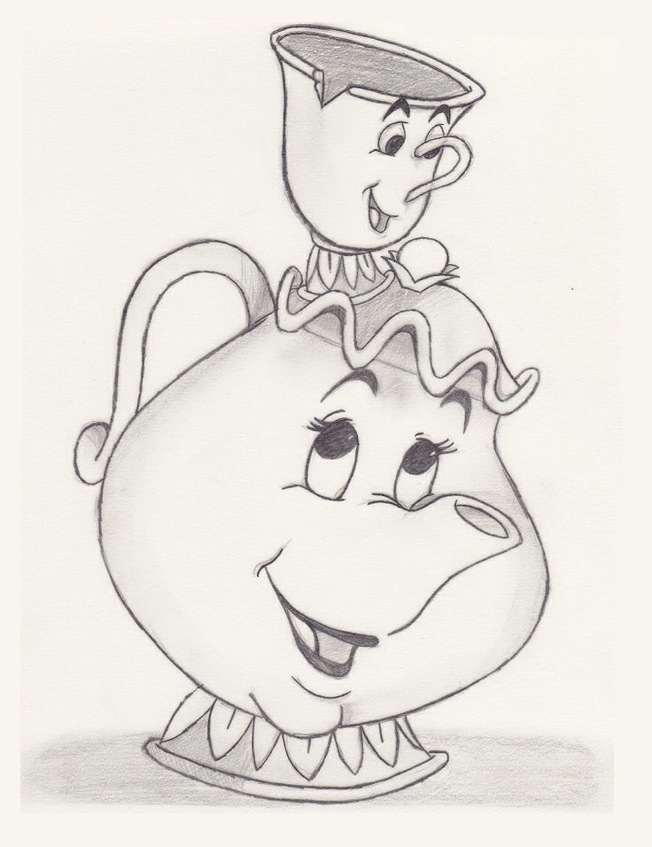 736x956 Disney Mrs Potts And Chip To Draw Chips Beauty, Potts Chips