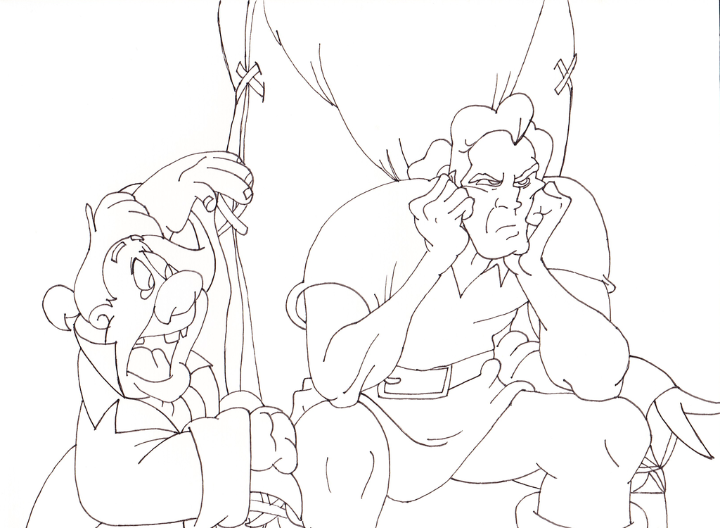 1024x750 Lefou Gaston Sketchline Beauty And The Beast 1991 By Vadkraam