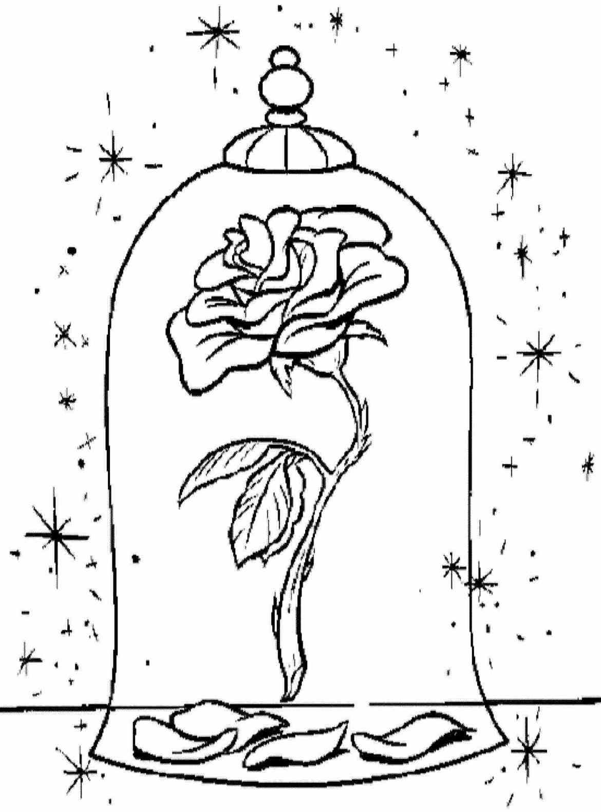 1170x1580 Beauty And The Beast Rose Drawing Printable Coloring Pages Disney