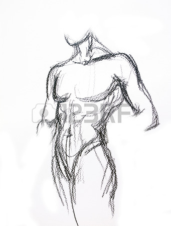 341x450 Man Torso Sketch Pencil Drawing Stock Photo, Picture And Royalty