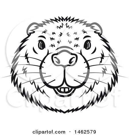 450x470 Clipart Of A Black And White Beaver Mascot Face
