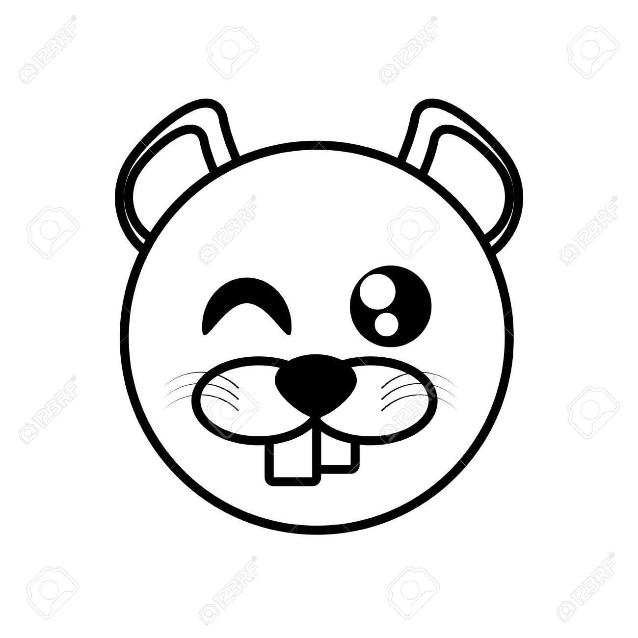 1300x1300 Outline Beaver Head Animal Vector Illustration Eps 10 Royalty Free