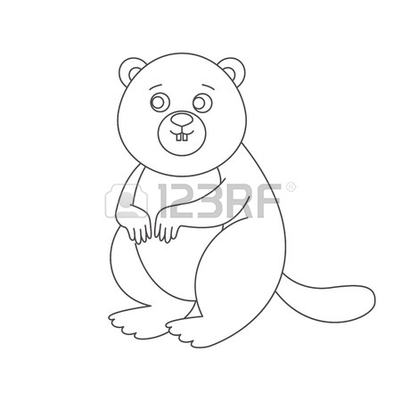 450x450 Beaver Isolated. Drawing Beaver For A Child Stock Photo, Picture