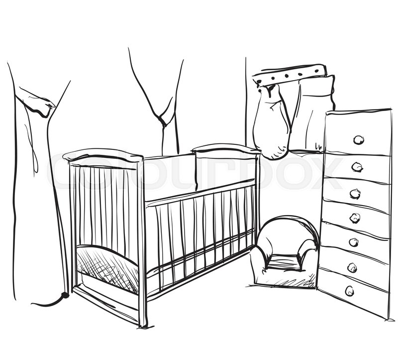 800x685 Hand Drawn Children Room. Furniture Sketch. Baby Bed Stock