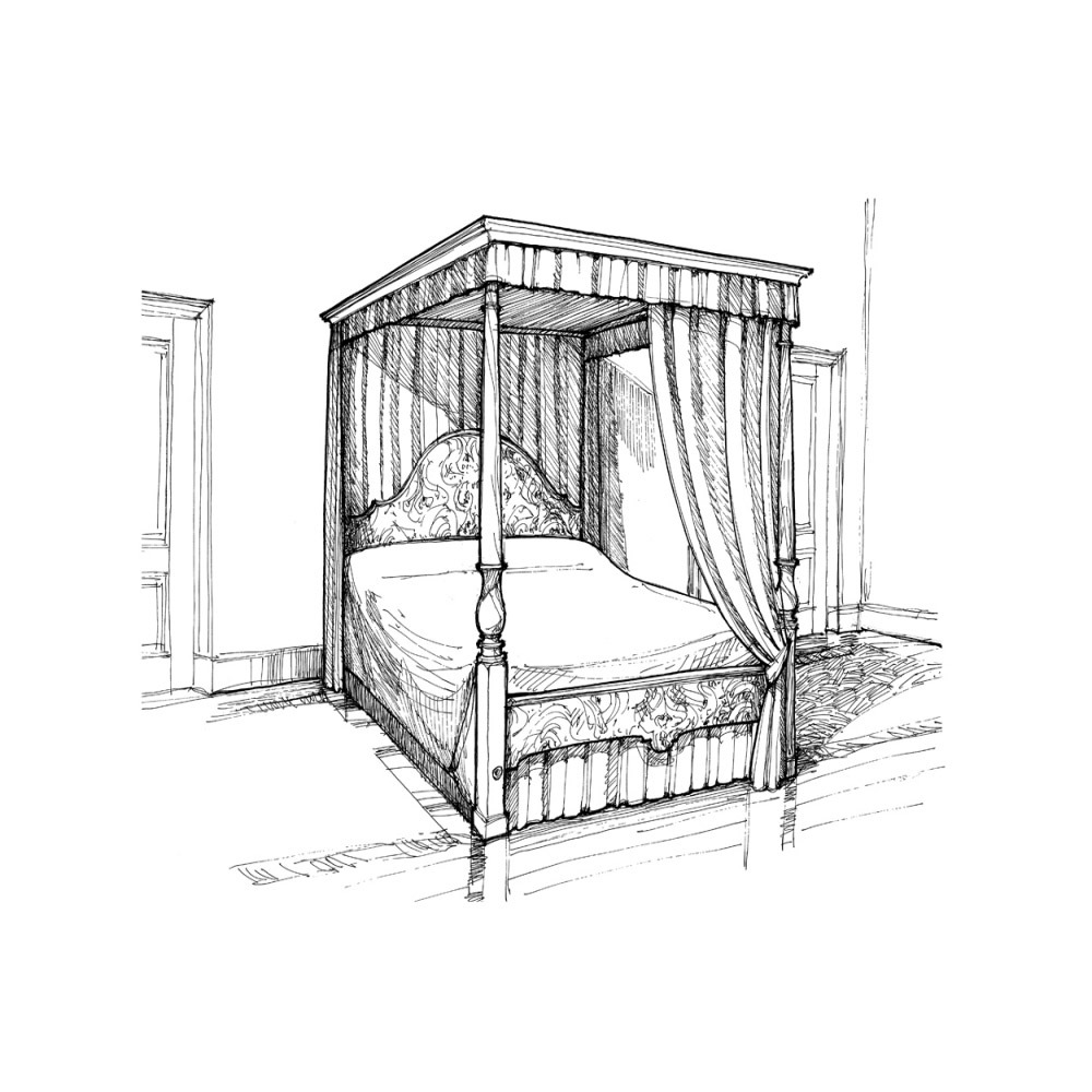 1000x1000 Walnut Four Poster Bed