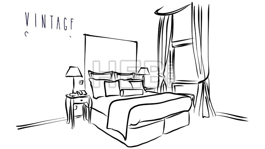 900x506 Animated Vector Illustration Artwork Of Hotel Room Interior