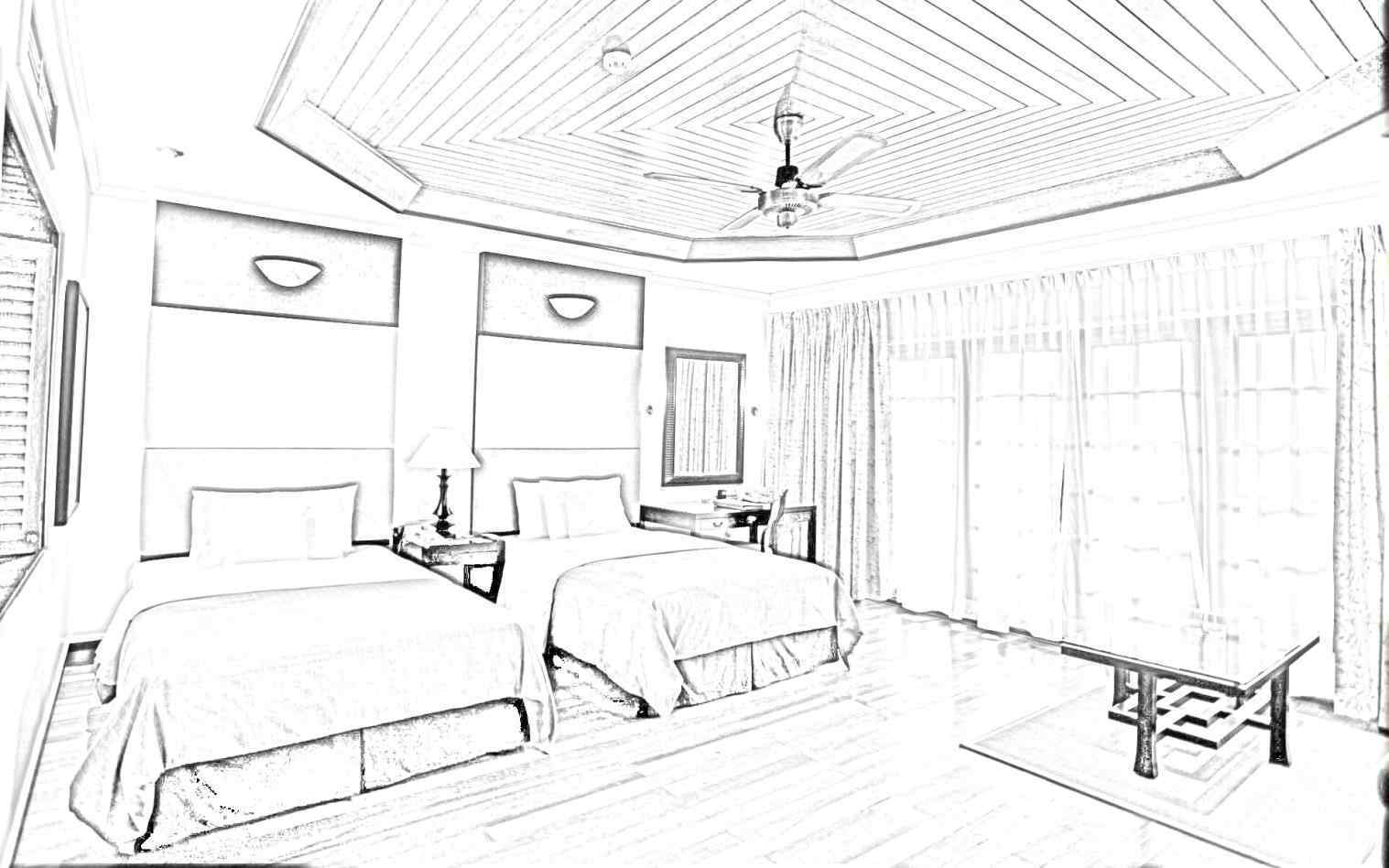 1517x948 Simple Bedroom Drawing Mayamokacomm