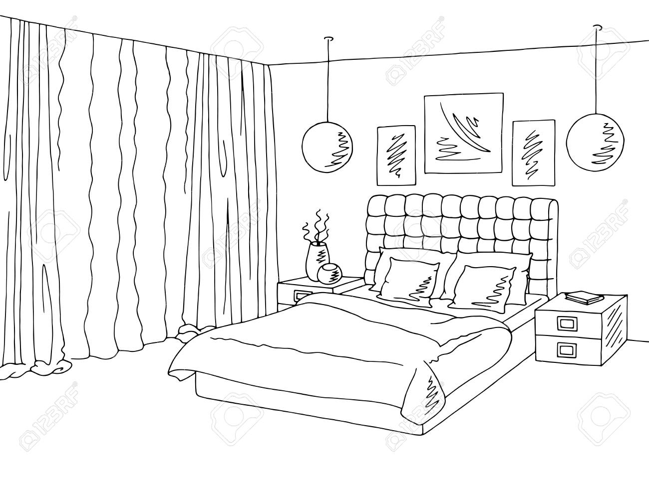 1300x975 Bedroom Black White Graphic Interior Sketch Illustration Vector