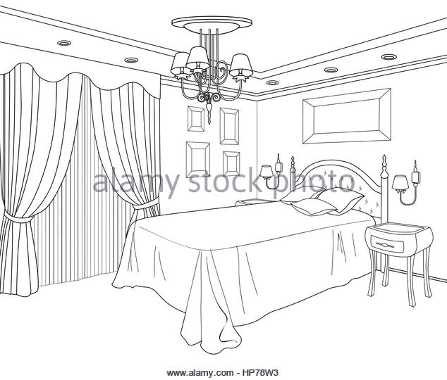 634x540 Bedroom Interior Hand Drawing Blueprint Stock Photos Amp Bedroom