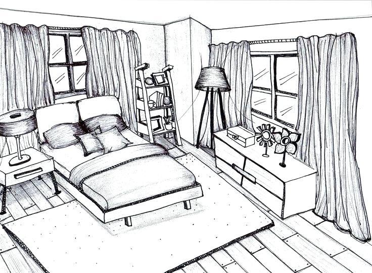 736x541 Bedroom Perspective Drawing La Bedroom 1 Point Perspective Bedroom