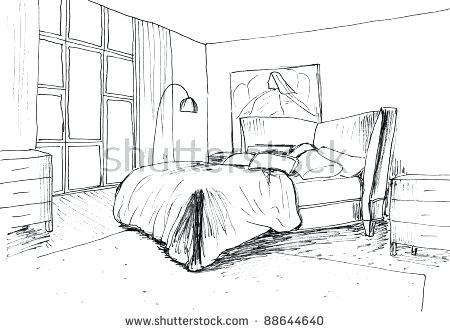 450x333 Drawing Bedroom Drawn Bedroom Perspective 9 Drawing Bedroom Easy