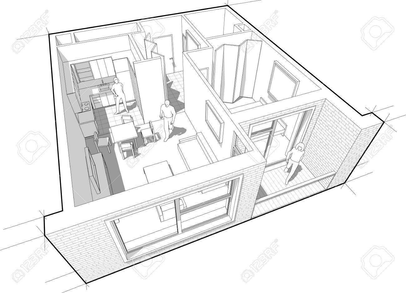1300x939 Perspective Cutaway Diagram Of A One Bedroom Apartment Completely