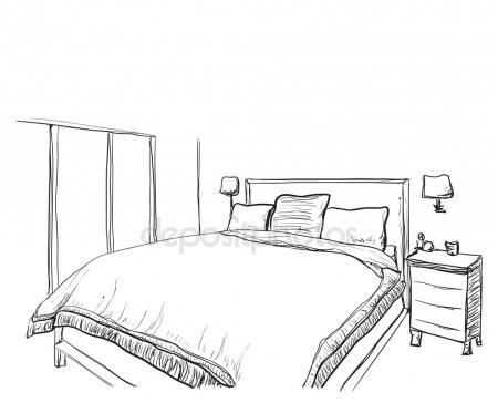450x364 Bedroom Interior Sketch. Hand Drawn Furniture Stock Vector