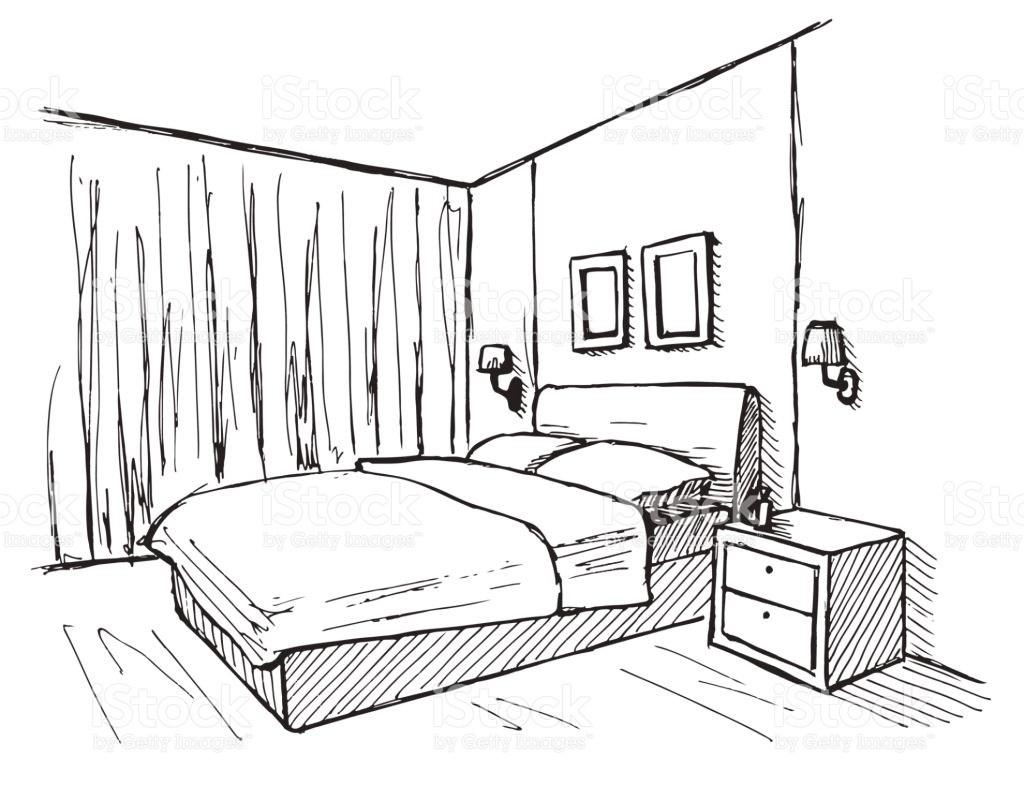 1024x786 Cartoon Bedroom Drawing