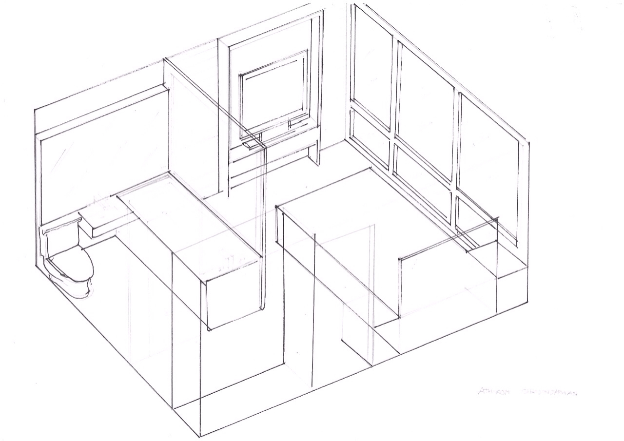 1280x905 The Is Axonometric Drawing Of My Bedroom. Where It Shows Bed