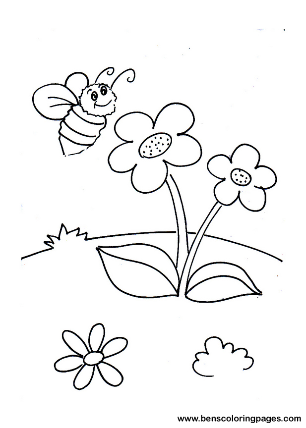 Bee And Flower Drawing at GetDrawings.com | Free for
