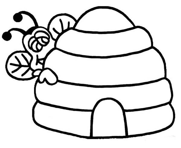 600x489 Bee Peeking Behind Beehive Coloring Page