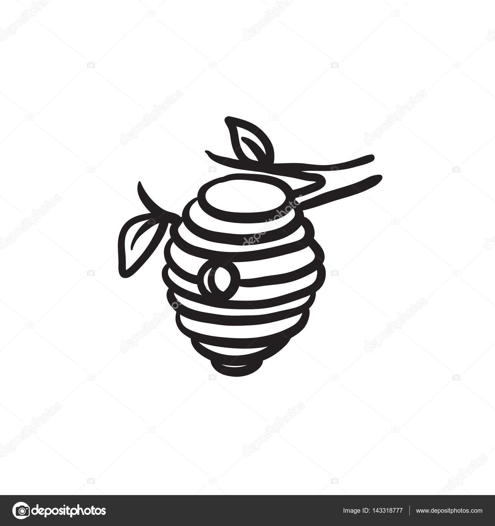 1600x1700 Bee Hive Sketch Icon. Stock Vector Rastudio