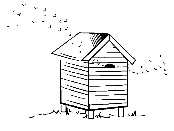 600x451 Beehive For Honey Farming Coloring Page