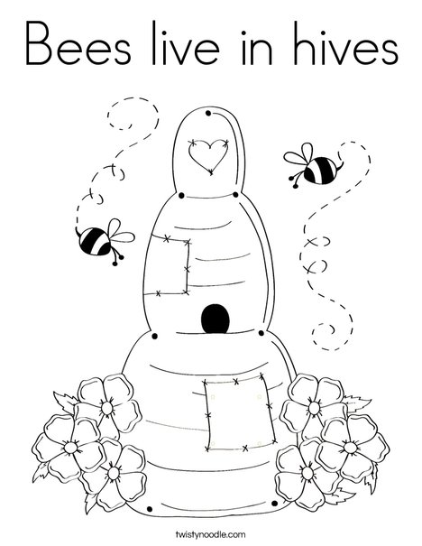 468x605 Bees Live In Hives Coloring Page
