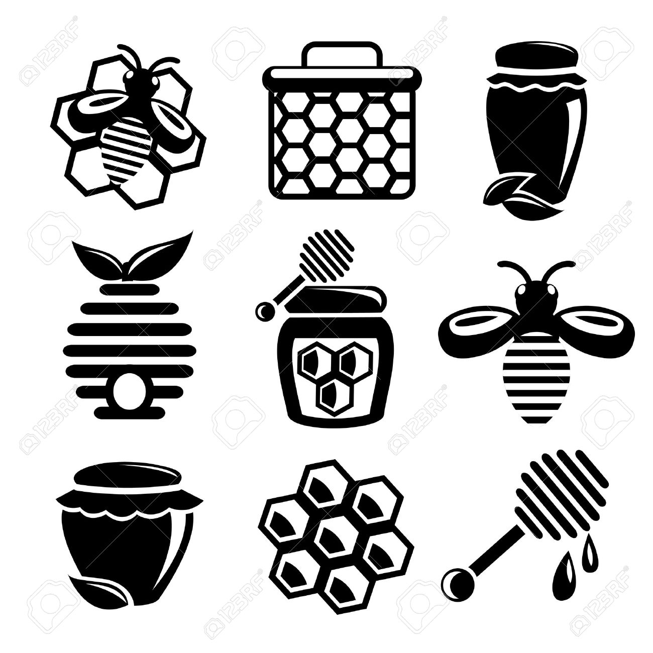1300x1300 Honey Bee Hive And Cell Food Agriculture Black Silhouette Icons