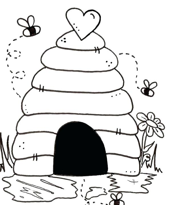600x722 Vibrant Creative Honey Bee Coloring Pages Also Beehive Is House
