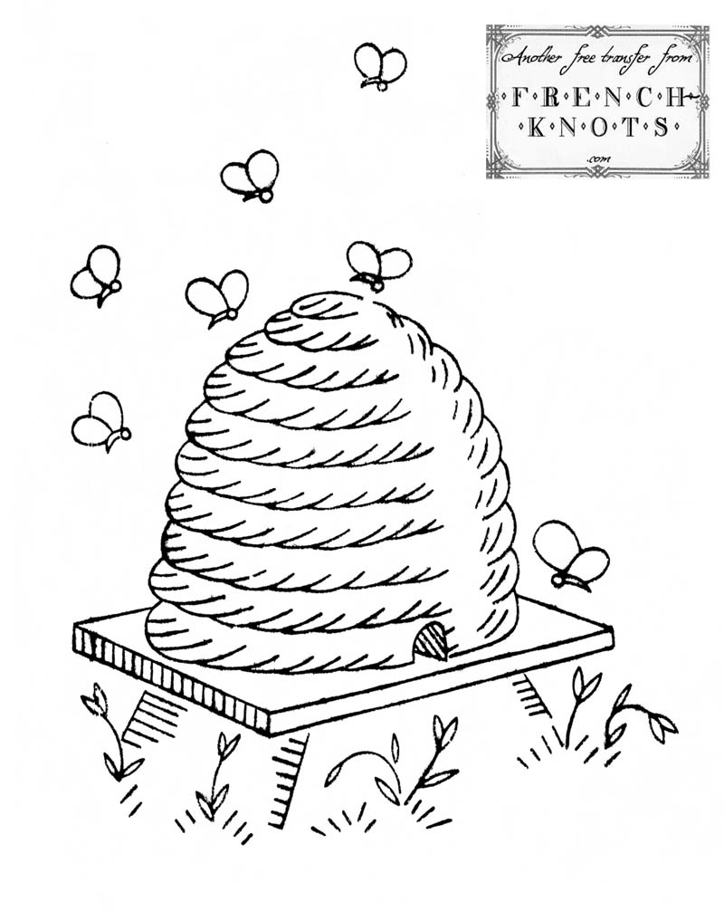 800x1017 Free Vintage Beehive Embroidery Transfer Pattern