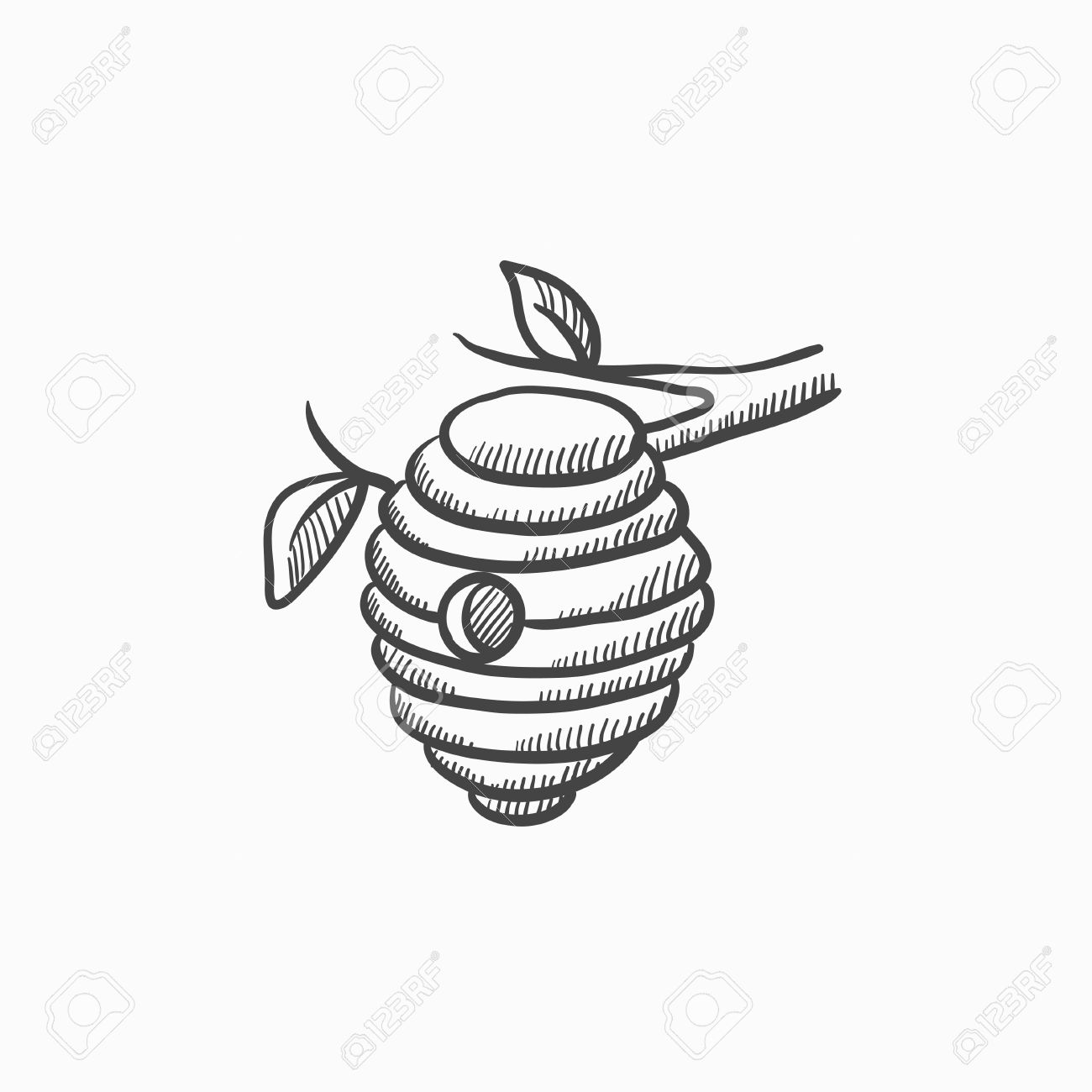 1300x1300 Bee Hive Sketch Icon For Web, Mobile And Infographics. Hand Drawn