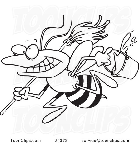 581x600 Cartoon Black And White Line Drawing Of A Busy Janitorial Bee