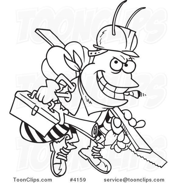 581x600 Cartoon Black And White Line Drawing Of A Worker Bee Carrying