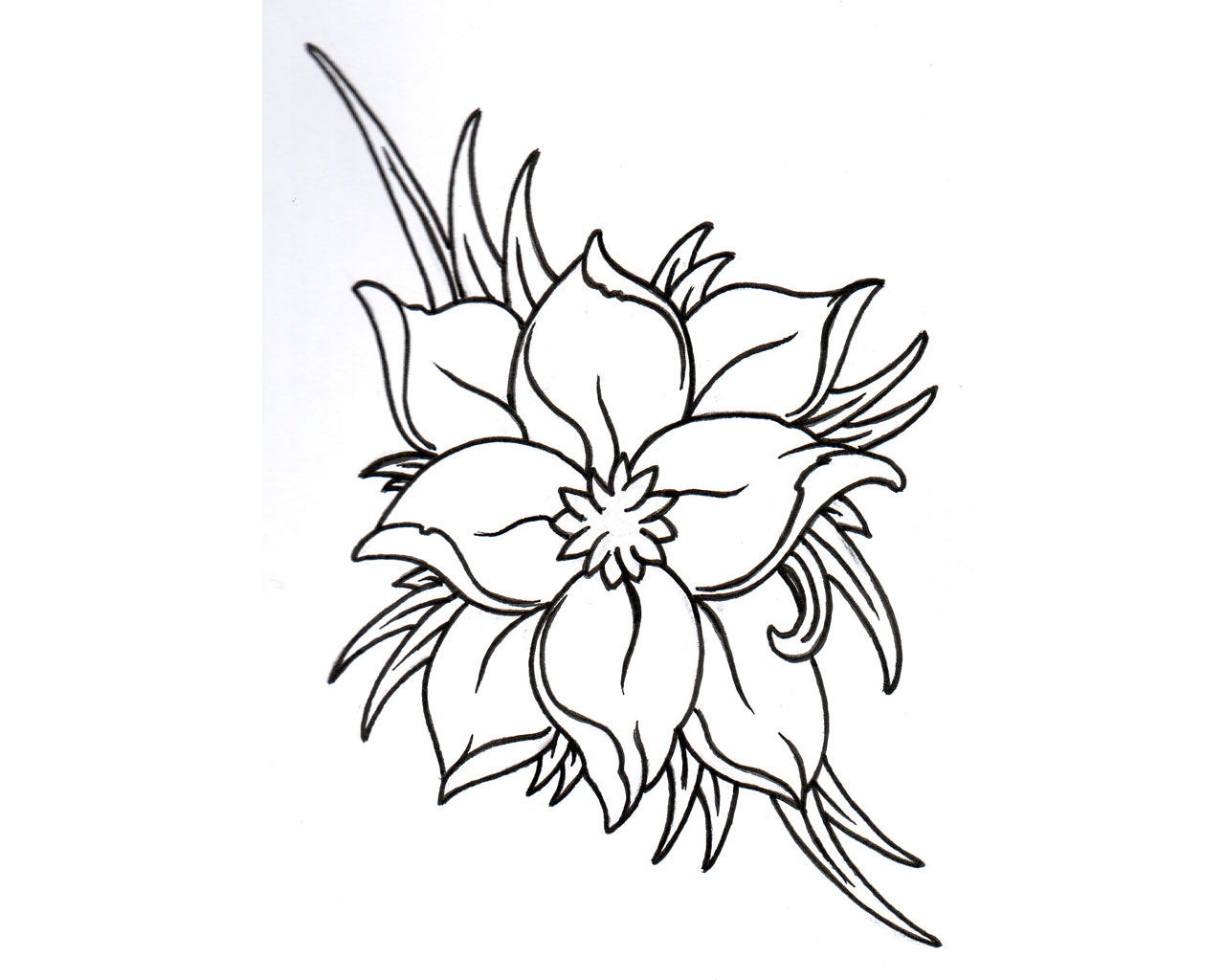 1280x1024 Collection Of Bee N Flower Tattoo Design