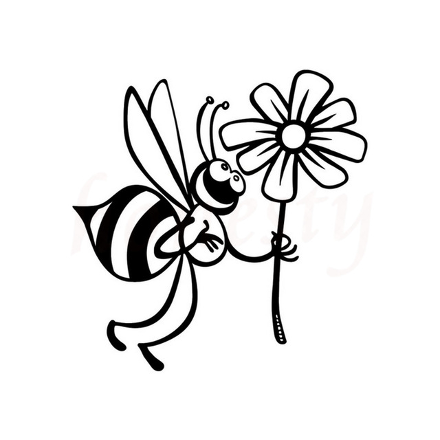 640x640 Cute Bee And Beautiful Flowers Car Stickers Wall Home Glass Window
