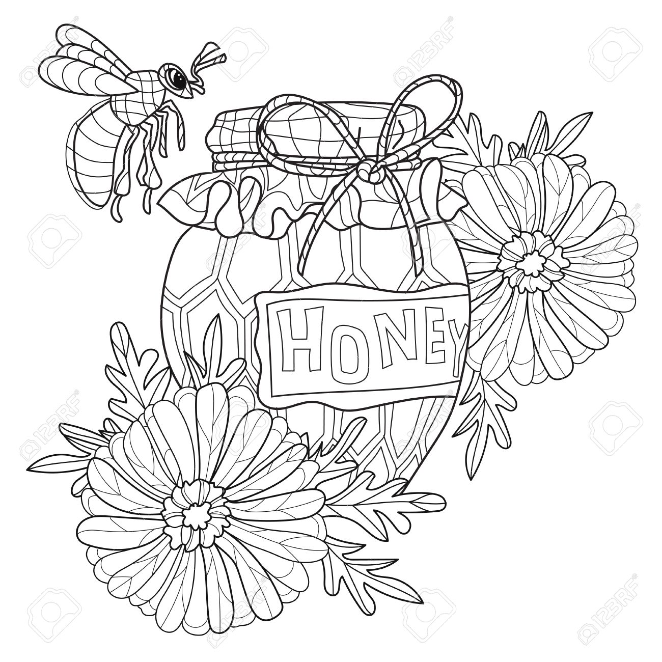 1300x1300 Honey Pot Doodle And Bee With Flowers.hand Drawn Vector