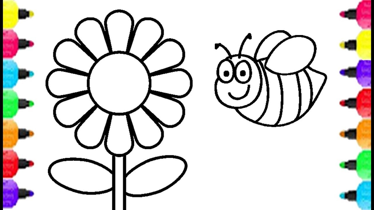 1280x720 How To Draw Bee And Flower Learn To Draw And Coloring For Kids
