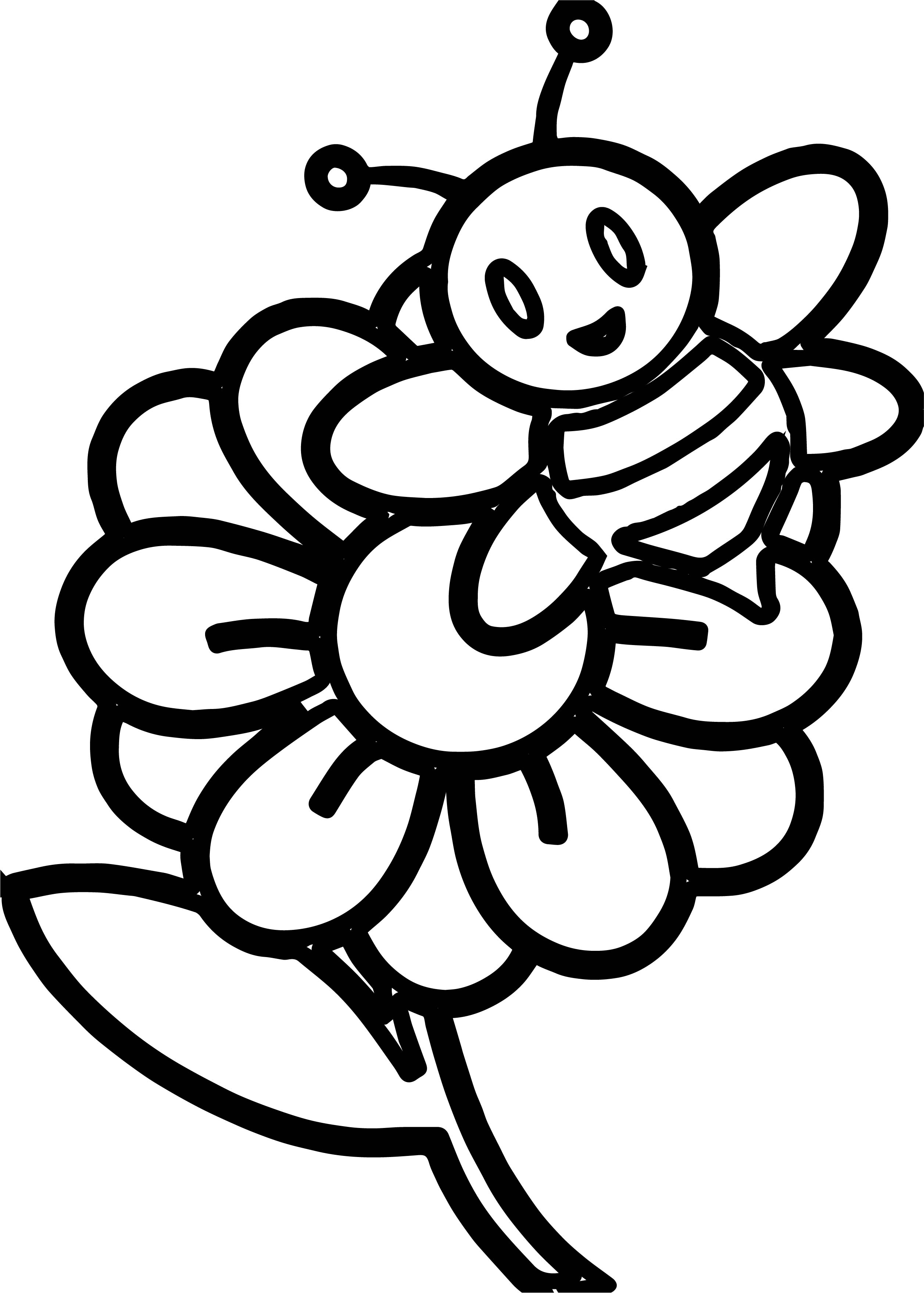 2514x3518 Little Bee On A Flower Coloring Page Wecoloringpage