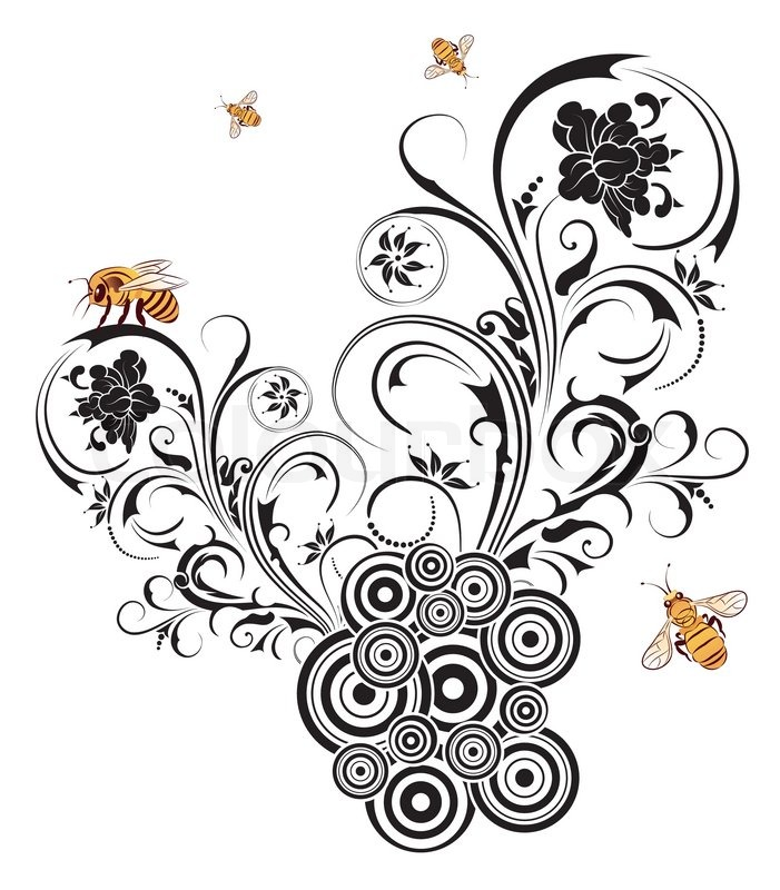 701x800 Silhouette Abstract Flower With Retro Circles And Bee, Element