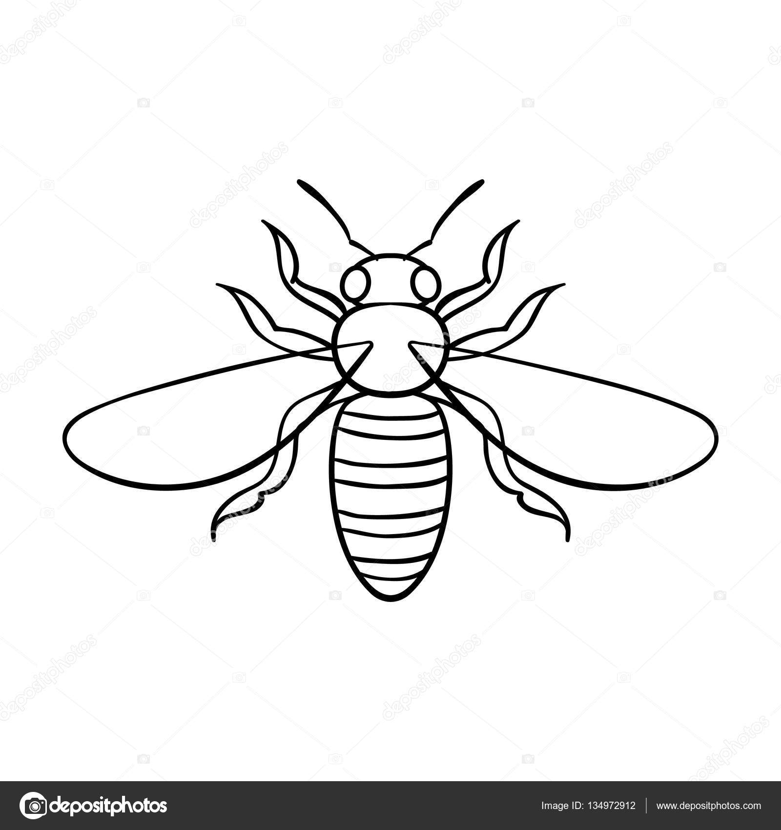 1600x1700 Bee Icon In Outline Style Isolated On White Background. Insects