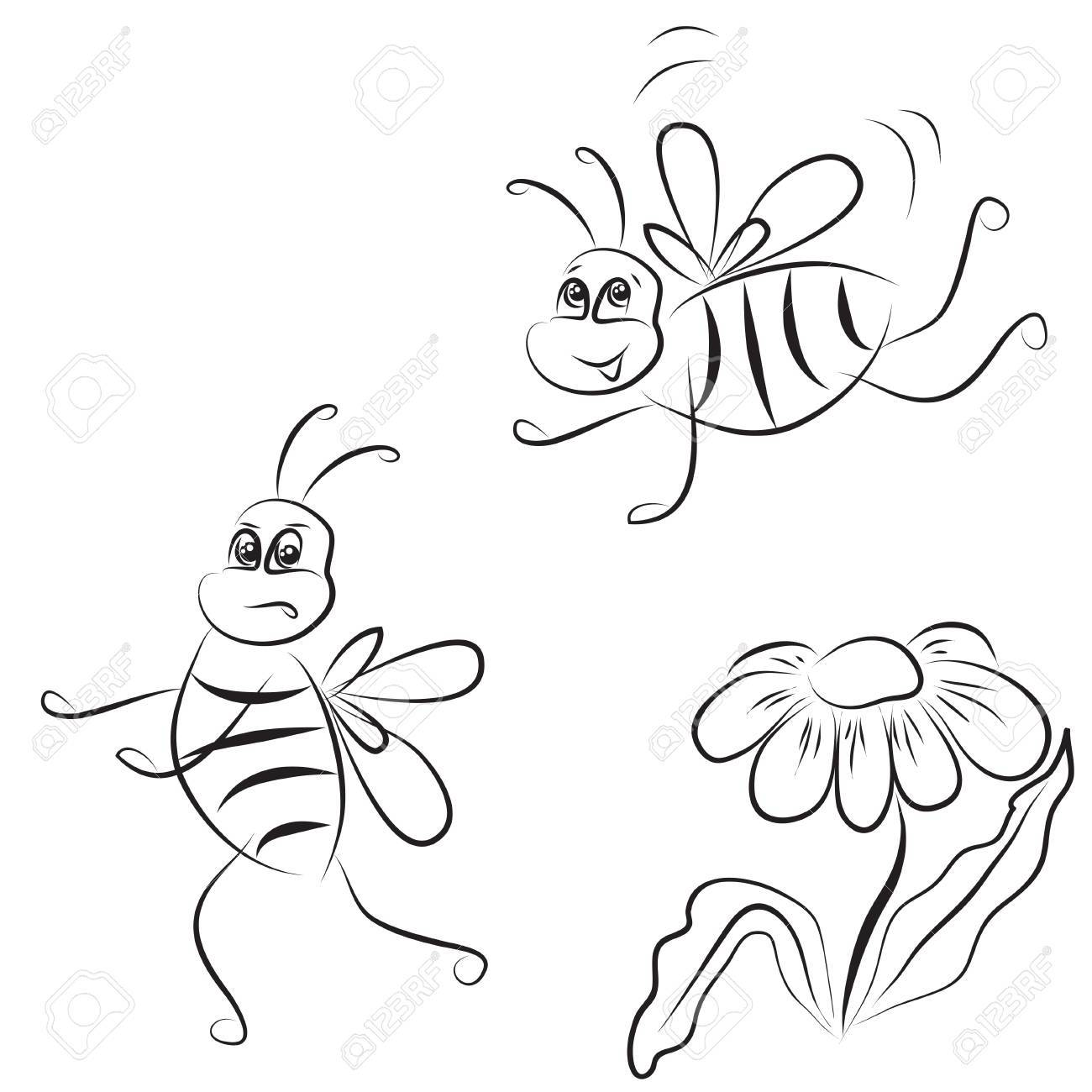 1300x1300 Simple Outline Drawing Bee And Daisy On A White Background Royalty