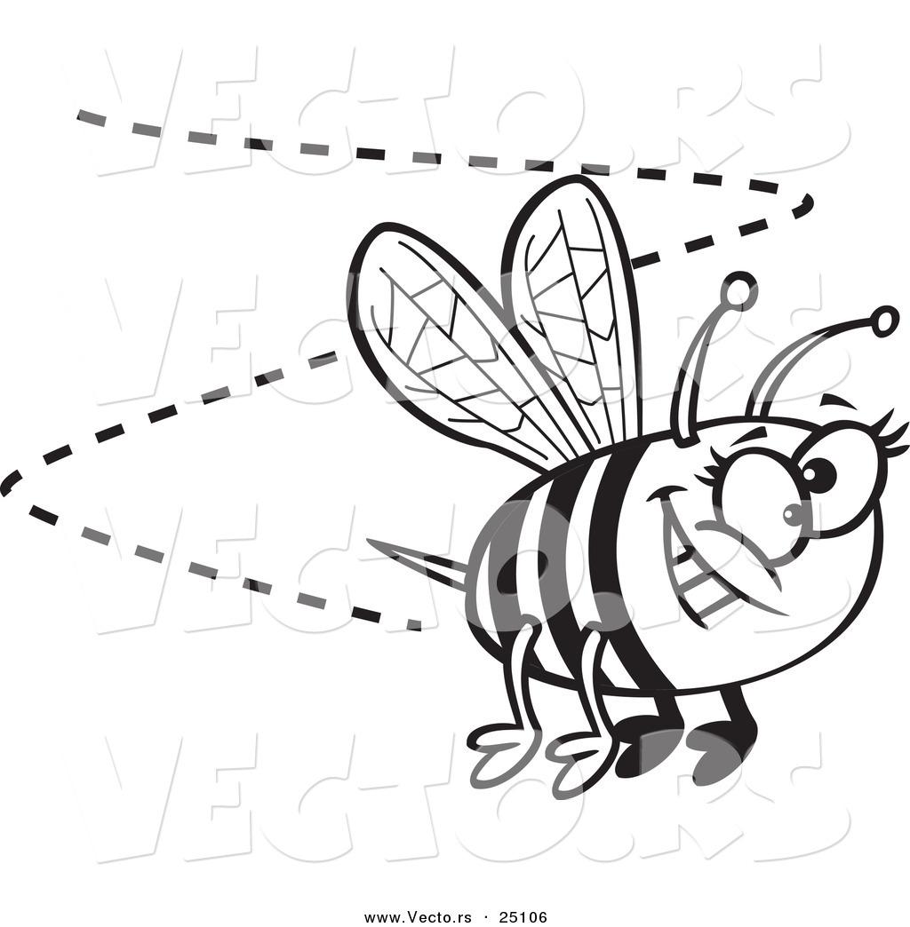 1024x1044 Vector Of A Cartoon Happy Bee Buzzing Around
