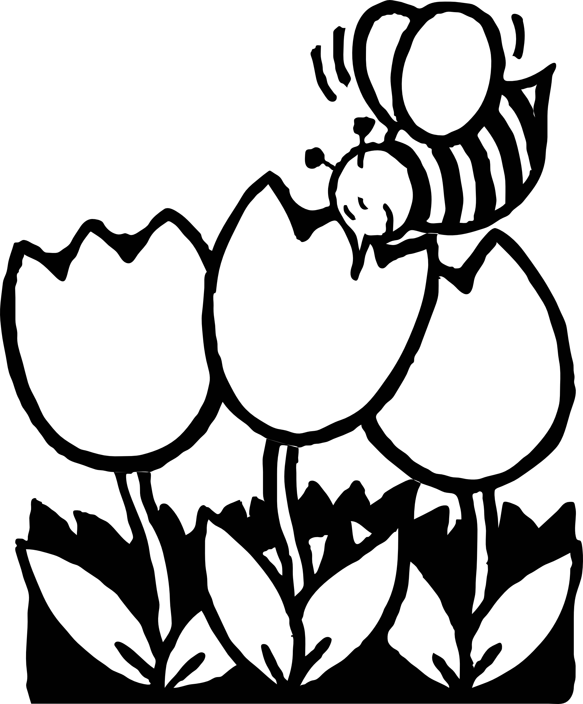 1969x2379 Bee Clipart Line Drawing