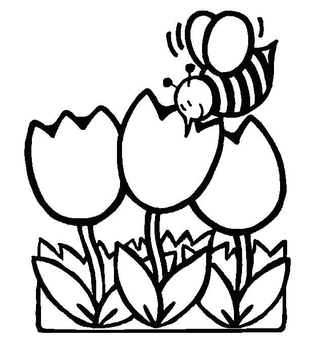 622x674 Coloring Pages For Kids Flowers Plus Tulips Bee Coloring Pages