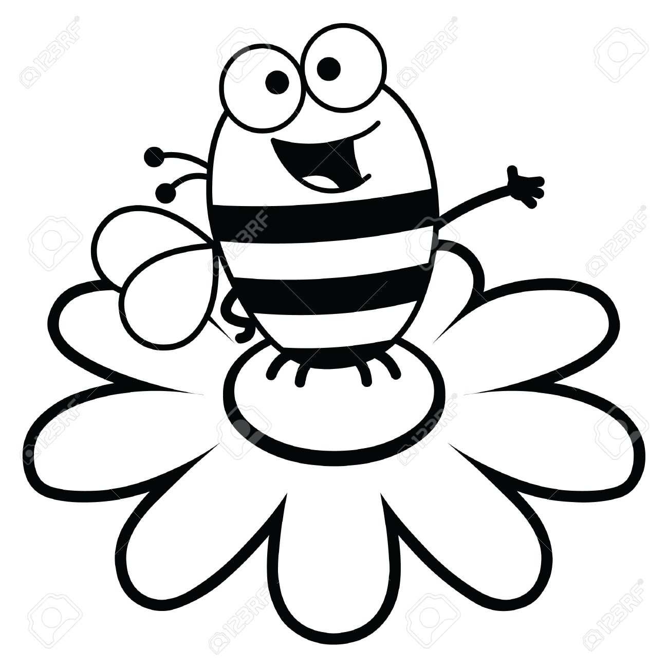 Cartoon Flower Line Drawing : Bee simple drawing at getdrawings free for personal