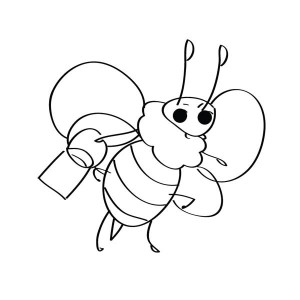 300x300 Simple Drawing Bumblebee Coloring Page Simple Drawing