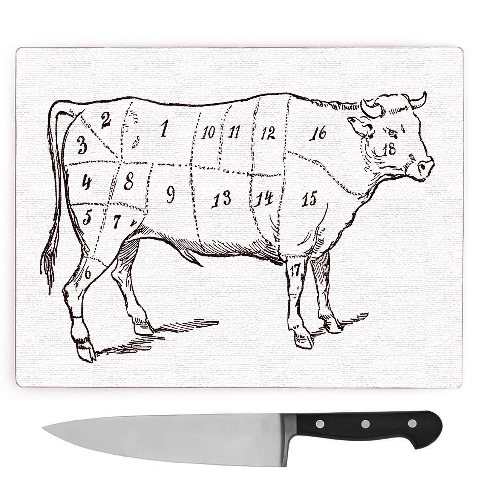 1600x1600 Big Box Art Butchers Beef Cow Map Meat Cuts Large Chopping Board