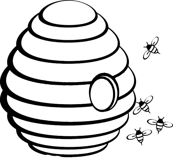 600x572 Beehive With Hole In The Middle Coloring Page