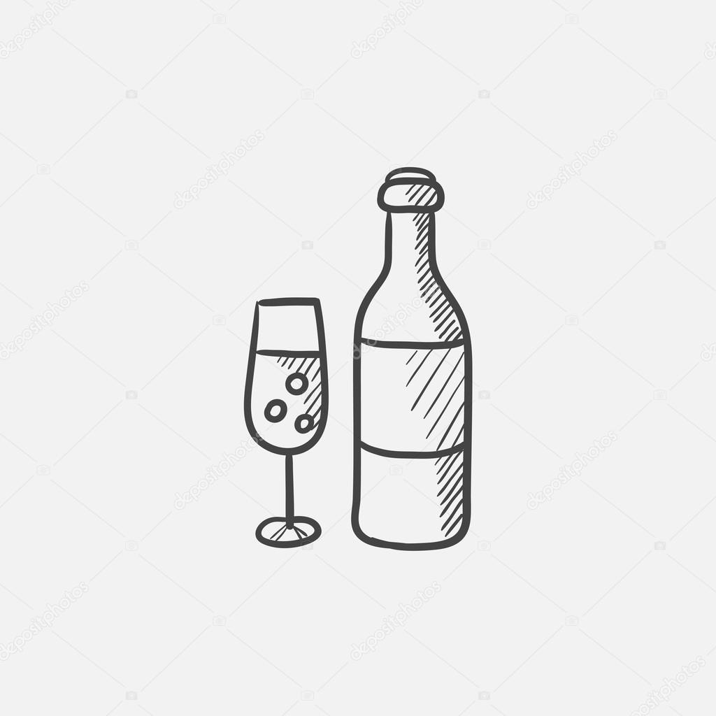 1024x1024 Bottle And Glass Of Champagne Sketch Icon. Stock Vector