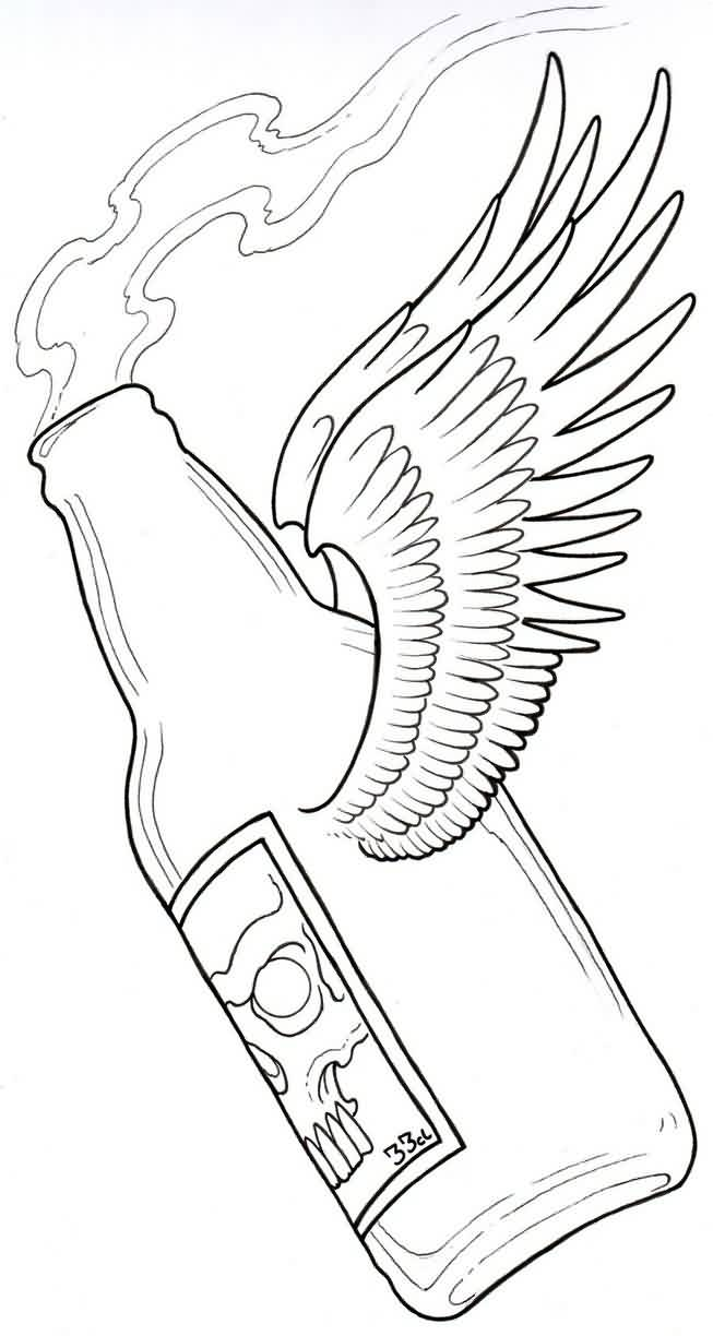 653x1224 Collection Of Beer Bottle With Wings Tattoo Sample