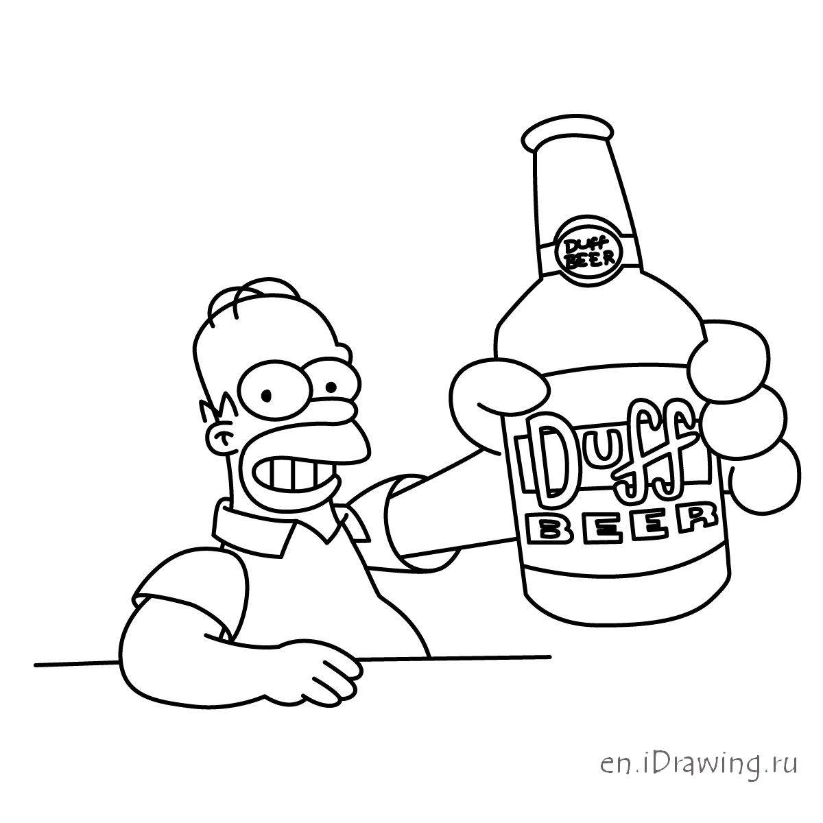 1200x1200 How To Draw Homer With Duff Beer Bottle