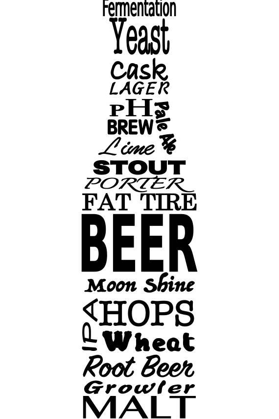 570x855 Svg Beer And Beer Brewing Terms In The Shape Of A Beer Bottle